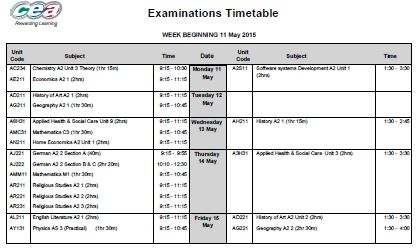 Summer 2015 External Exam timetables